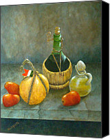 Olive Oil Canvas Prints - Sicilian Table Canvas Print by Pamela Allegretto