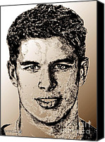 Jem Fine Arts Mixed Media Canvas Prints - Sidney Crosby in 2007 Canvas Print by J McCombie
