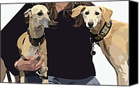 Whippet Canvas Prints - Sighthounds II Canvas Print by Kris Hackleman