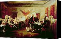America Tapestries Textiles Canvas Prints - Signing the Declaration of Independence Canvas Print by John Trumbull