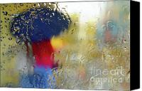 Micro Canvas Prints - Silhouette in the Rain Canvas Print by Carlos Caetano