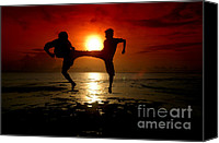Arts Edge Canvas Prints - Silhouette Of Two People Fighting Canvas Print by Antoni Halim