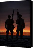 Afghanistan Canvas Prints - Silhouette Of U.s Marines On A Bunker Canvas Print by Terry Moore