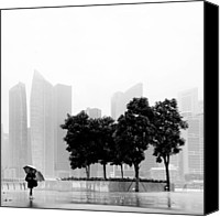 Urban Landscape Canvas Prints - Singapore Umbrella Canvas Print by Nina Papiorek