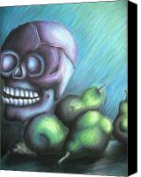 Skull Pastels Canvas Prints - Skulls and Pears Canvas Print by Ashley Warbritton