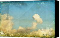 Old Wall Canvas Prints - Sky And Cloud On Old Grunge Paper Canvas Print by Setsiri Silapasuwanchai