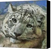 Leopards Canvas Prints - Snow Leopard Painterly Canvas Print by Ernie Echols