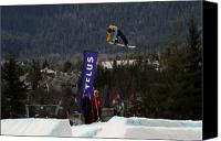 Snowboarder Canvas Prints - Snowboarder at the Telus snowboard festival Whistler 2010 Canvas Print by Pierre Leclerc