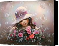 Cap Painting Canvas Prints - Soap Bubble Girl - Rose Sharon Of Song Canvas Print by Yoo Choong Yeul