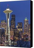 Seattle Skyline Canvas Prints - Space Needle and Downtown Seattle Skyline Canvas Print by Rob Tilley