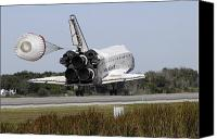 Braking Canvas Prints - Space Shuttle Atlantis Unfurls Its Drag Canvas Print by Stocktrek Images