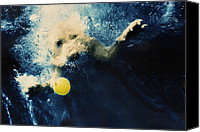 Diving Dog Canvas Prints - Splashdown Canvas Print by Jill Reger