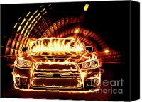 Hotrod Photo Canvas Prints - Sports Car in Flames Canvas Print by Oleksiy Maksymenko