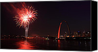 4th July Canvas Prints - St. Louis Fireworks Canvas Print by Scott Rackers