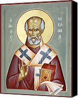 Icon Byzantine Canvas Prints - St Nicholas of Myra Canvas Print by Julia Bridget Hayes