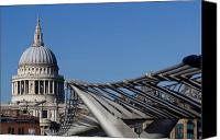 Christopher Wren Canvas Prints - St Pauls Cathedral And The Millenium Bridge  Canvas Print by David Pyatt