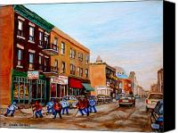 Montreal Street Life Canvas Prints - St. Viateur Bagel Hockey Game Canvas Print by Carole Spandau