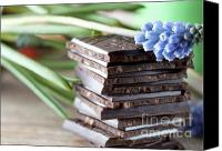 Yummy Food Canvas Prints - Stack of Chocolate Canvas Print by Nailia Schwarz