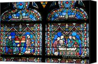 Notre Dame Canvas Prints - Stained glass window of Notre Dame de Paris. France Canvas Print by Bernard Jaubert