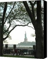 Park Benches Canvas Prints - Statue of Liberty From Ellis Island Canvas Print by Frank Mari
