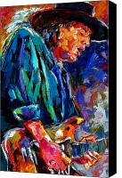 Rock Music Canvas Prints - Stevie Ray Vaughan Canvas Print by Debra Hurd