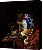 Blue And White Porcelain Canvas Prints - Still Life with a Chinese Porcelain Jar Canvas Print by Willem Kalf