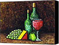 Corks Canvas Prints - Still Life With Wine and Cheese Canvas Print by Kamil Swiatek