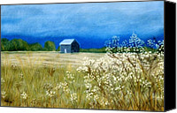 Rural Landscapes Pastels Canvas Prints - Stormy Afternoon Canvas Print by Jan Amiss