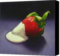 Strawberry Canvas Prints - Strawberry Cream Canvas Print by Melinda Giron