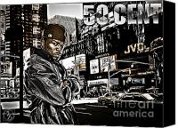 D77 Canvas Prints - Street Phenomenon 50 Cent Canvas Print by The DigArtisT