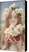 Alma-tadema; Sir Lawrence (1836-1912) Canvas Prints - Summer Offering Canvas Print by Sir Lawrence Alma-Tadema