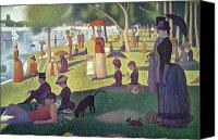 Umbrella Canvas Prints - Sunday Afternoon on the Island of La Grande Jatte Canvas Print by Georges Pierre Seurat