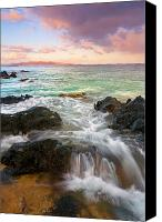Island Photo Canvas Prints - Sunrise Surge Canvas Print by Mike  Dawson