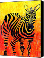 Zebra Pastels Canvas Prints - Sunset Canvas Print by Agnieszka Reichelt