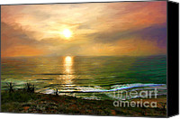 San Diego Mixed Media Canvas Prints - Sunset at Torrey Pines Beach Canvas Print by Dawn Serkin