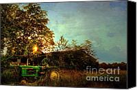 John Deere Tractor Canvas Prints - Sunset on Tractor Canvas Print by Benanne Stiens