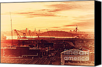Industrial Ship Canvas Prints - Sunset Over San Francisco Skyline Through The Port of Oakland . 7D11028 Canvas Print by Wingsdomain Art and Photography