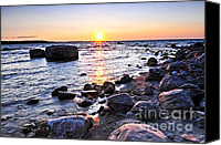 Canada Canvas Prints - Sunset over water Canvas Print by Elena Elisseeva