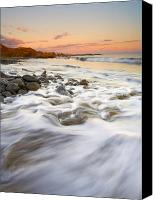 Waves Canvas Prints - Sunset Tides Canvas Print by Mike  Dawson