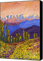 Trees Reliefs Canvas Prints - Swiss Alps Impasto Canvas Print by Edward McNaught-Davis