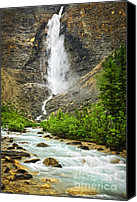 Cliff Canvas Prints - Takakkaw Falls waterfall in Yoho National Park Canada Canvas Print by Elena Elisseeva