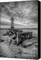 Storm Digital Art Canvas Prints - Talacre Lighthouse Canvas Print by Adrian Evans