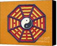 Octagonal Canvas Prints - Taoist Octagonal Symbol Canvas Print by Yali Shi