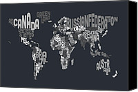 Map Art Digital Art Canvas Prints - Text Map of the World Canvas Print by Michael Tompsett
