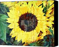 Sunflowers Canvas Prints - Textured Sunflower Canvas Print by Cathie Tyler