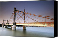 Battersea Canvas Prints - The Albert Bridge Spanning The Thames River Between Battersea And Chelsea Canvas Print by Eric Nathan