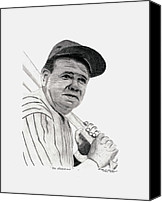 Babe Ruth Drawings Canvas Prints - The Bambino Canvas Print by Bob Garrison