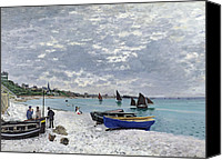 Yachts Painting Canvas Prints - The Beach at Sainte Adresse Canvas Print by Claude Monet