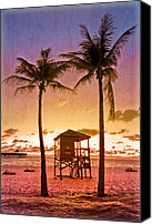 Tropical Sunset Canvas Prints - The Beach Canvas Print by Debra and Dave Vanderlaan