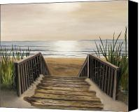 Sea Painting Canvas Prints - The Beach Canvas Print by Toni  Thorne
